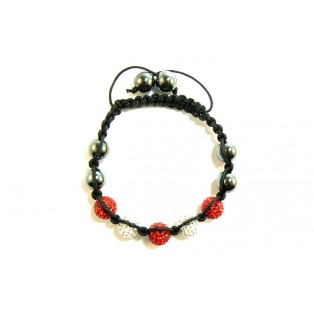 Red and White Shamballa Bracelet